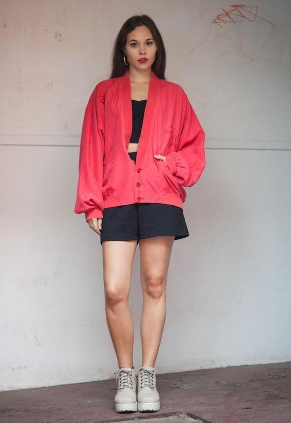 Vintage 80's Coral Pure Silk Over-sized Bomber Jac