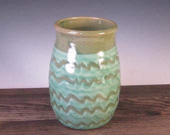 Vase - slip with green glaze