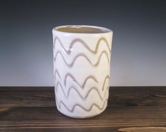 Utensil Holder/Vase - White slip with finger markings