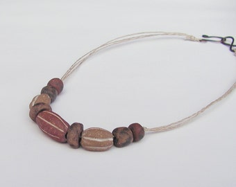 "Rustic Stoneware Bead 18"" Necklace - Artisan Beads - White, Black, Red, Brown, Stripe"