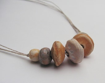 "Rustic Stoneware Bead 20"" Necklace - Artisan Beads - White, Yellow"