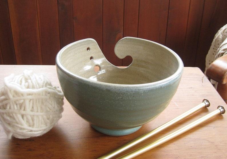 Yarn Bowl Ceramic for Knitting or Crocheting Light Blue and OffwhiteBone