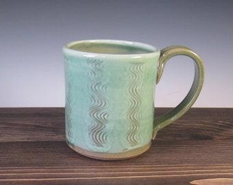 Mug - green with slip and tool design