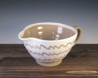 Mixing Bowl - Medium Batter Bowl - White slip with Spout and Handle
