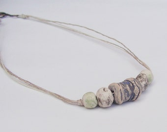 "Rustic Stoneware Bead 17.5"" Necklace - Artisan Beads - White, Blue, Green, Black"
