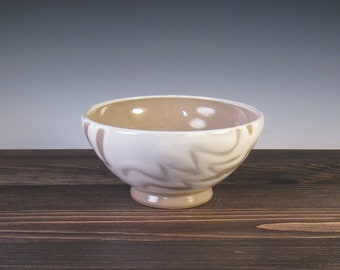 Small Bowl - White slip with finger trailing
