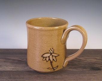 Mug - speckled brown with black slip echinacea design and white glaze
