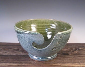 Yarn Bowl - Ceramic for Knitting or Crocheting - Dark Blue and Green