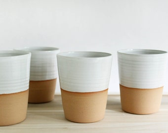 Four mugs without handles, white minimalist ceramic pottery coffee mug, tall tumbler set made in Virginia
