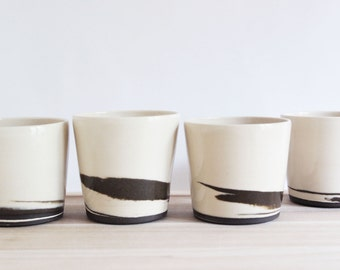 Pottery cups, ceramic tumblers, black and white from the STRATA collection, set of four small ceramic cups
