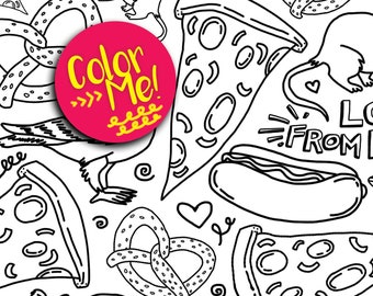 Instant Download New York City Pattern Coloring Page - Coloring Pages Kids - Adult Coloring - NYC Pigeon