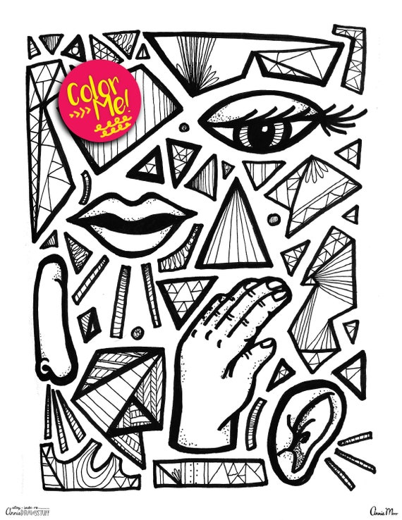 Instant Download Abstract Face Coloring Page Coloring Pages Etsy