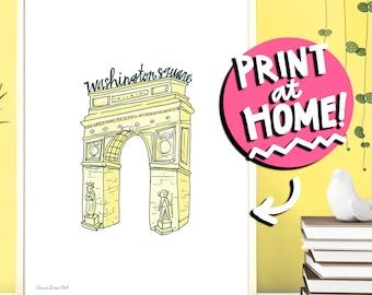 PRINTABLE WALL ART - Washington Square Arch Illustration Art Print - New York City Digital Download Art Print