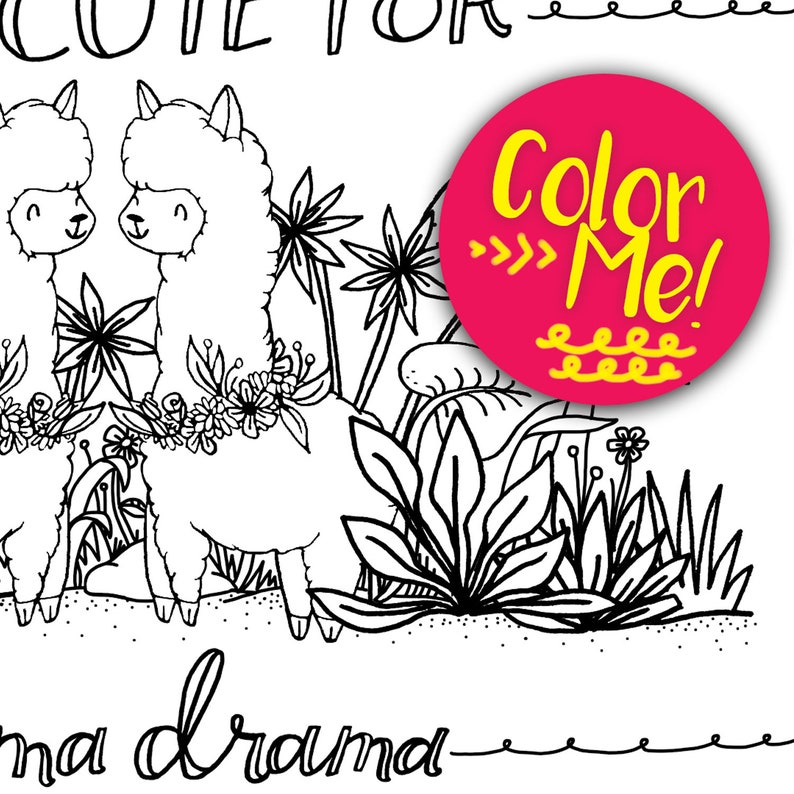 Llama Coloring Page Coloring Pages Download Coloring Page Etsy