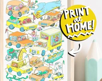 PRINTABLE NURSERY ART - Animal & Transportation Children's Illustration Art Print - Digital Download Art - Wall Art