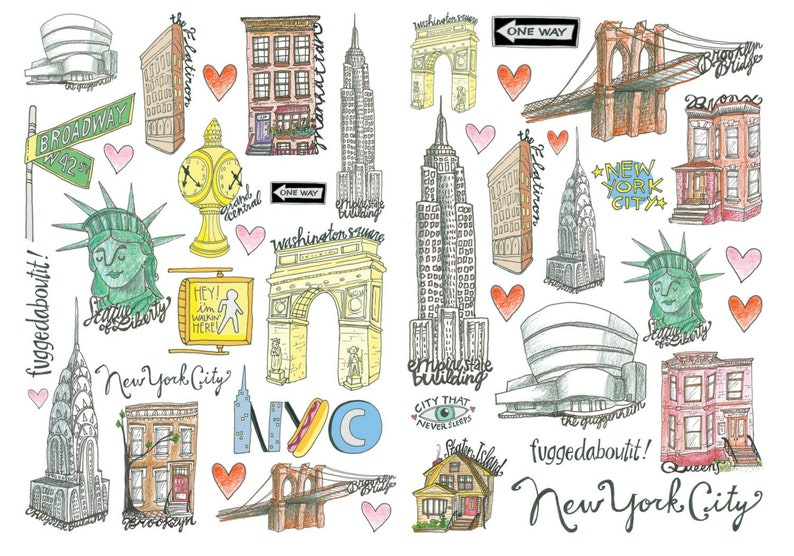 DOUBLE PACK New York City Favor Temporary Tattoos | Etsy