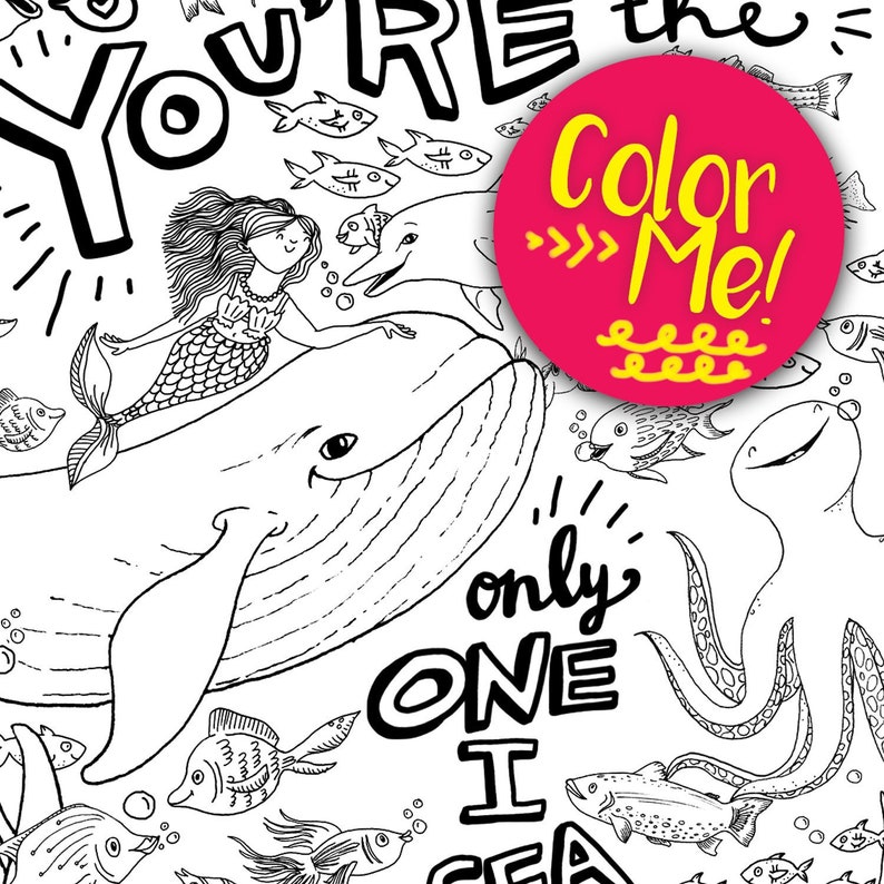 Sea Creature Coloring Page Coloring Pages Download Coloring Pages Kids Coloring Pages Adults Mermaid Coloring Whale Coloring