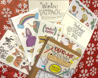 Secret Stocking Stuffers - Bundle Pack of Temporary Tattoos, Stickers, Cards - Holiday Bundle