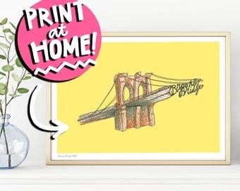 PRINTABLE WALL ART - Brooklyn Bridge Illustration Art Print - New York City Digital Download - Brooklyn Drawing