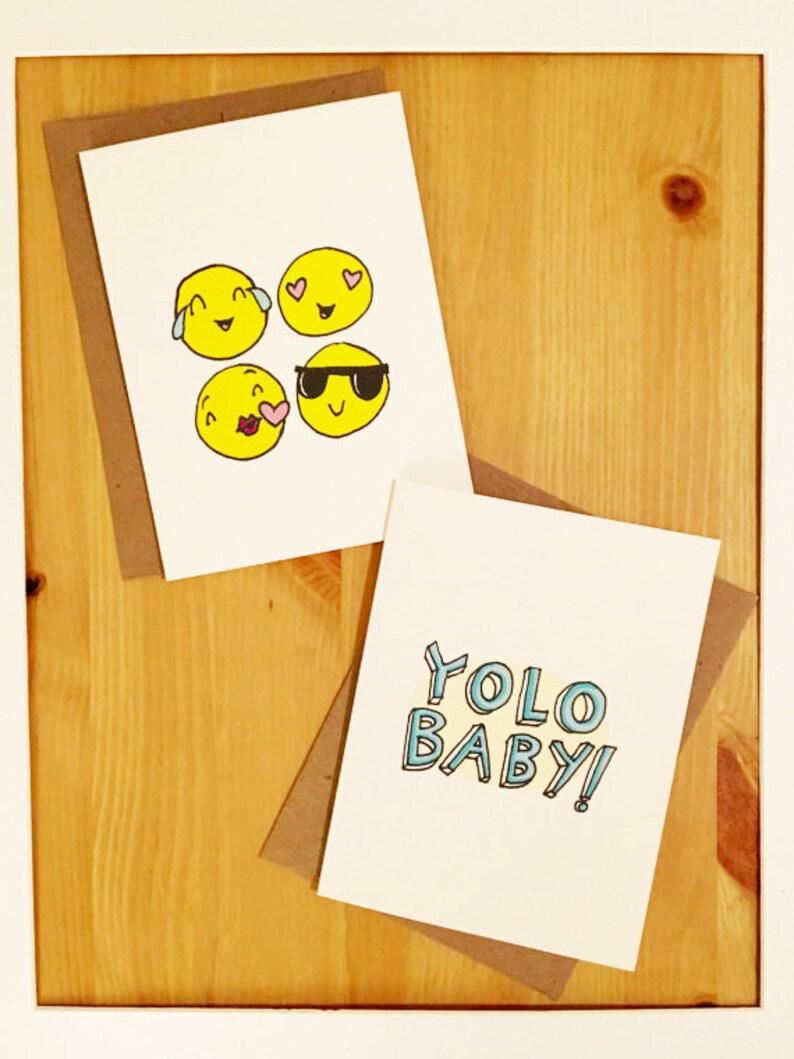 hip cards blank cards with envelopes emoji card set  etsy