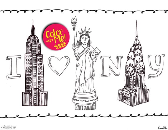 Instant Download New York City Coloring Page Coloring Pages Etsy