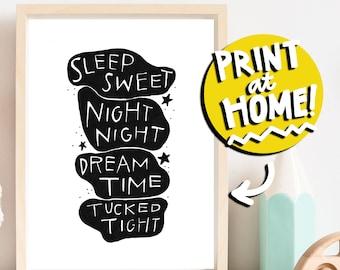 PRINTABLE NURSERY ART - Black and White Modern Children's Illustration Art Print - Digital Download Art - Wall Art - Modern Nursery Decor