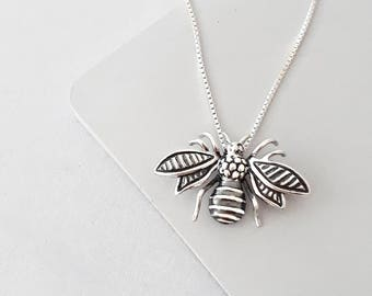 Sterling Silver Bee Necklace, Bee Jewelry, Bumble Bee Necklace, Honey bee Necklace, Sterling Silver Necklace, Nature Jewelry, Gift For Women