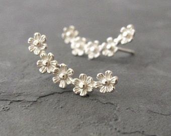 Ear Pin - Ear Crawler Earrings Silver - Silver Stud Earrings - Ear Climber Earrings - Ear Climbers - Curved Ear Climber - Flower Earrings