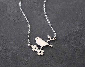 Sterling Silver Bird Pendant Necklace - Bird Necklace - Delicate Bird Necklace - Dainty Necklace - Flower Necklace - Delicate Necklace