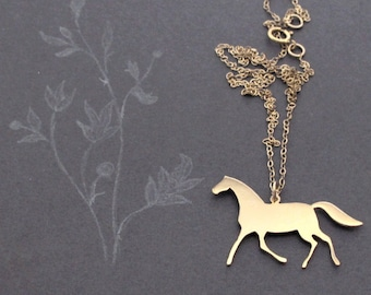 Horse Necklace - Gold - Sterling Silver Horse Necklace - Animal Necklace - Horse Pendant Necklace - Horse Jewelry - Animal Jewelry