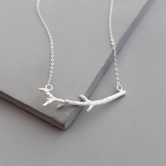 Tree Branch Necklace Hypoallergenic Jewelry Nature Inspired Twig Solid Sterling Silver Forest Lover Pendant Woodland