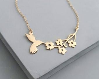 Flower Necklace - Hummingbird Necklace - Statement Necklace - Nature Jewelry - Hummingbird Jewelry - Silver Necklace - Silver Jewelry