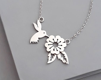 Silver Hummingbird Necklace, Sterling Silver Necklace, Hummingbird, Silver Bird Necklace, Bird Jewelry, Flower Necklace, Hummingbird Jewelry