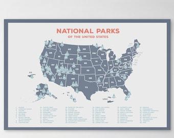 National Park Map Etsy