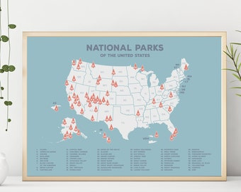 National park map | Etsy