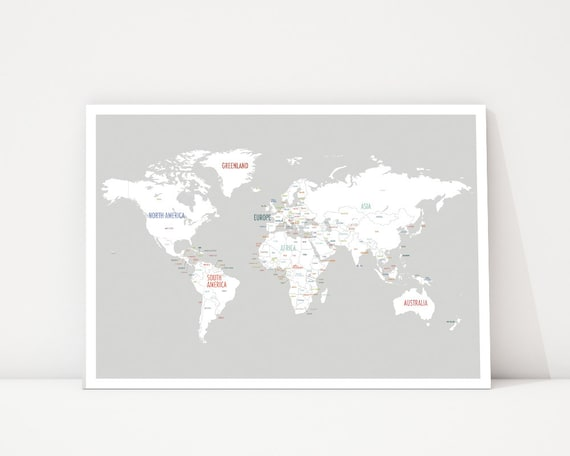 ON SALE- 15% OFF Discount World Map Wall Art, Travel Map, World Map Poster,  Nursery Wall Art, World Map Print, Wedding Guest Book,Kid\'s Worl