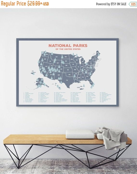 20% OFF and Free Shipping US National Parks Map Map of United | Etsy