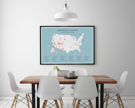 20% OFF and Free Shipping Blue US National Parks Map Blue USA | Etsy