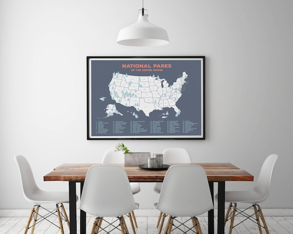 US National Parks Map Map of United States National Park   Etsy