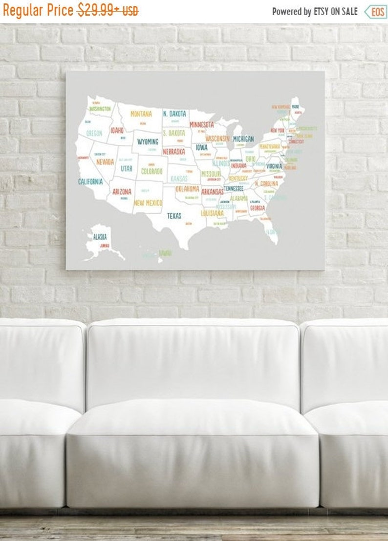 ON SALE USA Map Art - Travel Map - United States Map Canvas - Travel Decor  - Nursery Art - Usa Poster - Nursery Map - Playroom Map - Us Map