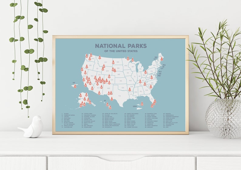 Blue US National Parks Map Blue USA Map Map of the United | Etsy