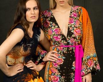 Kaftan/Bell Sleeve Dress/Bell Sleeves/Maxi Dress/Floral Dress/Kaftan Dress/Orange Dress/Long Dress/Party Dress/Bohemian Dress/Boho Dress