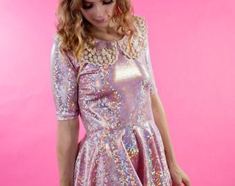 Holographic Dress/Pink Dress/Shiny Dress/Party Dress/Dress with Pockets/Babydoll Dress/Babydoll/Pink Babydoll Dress/Peter Pan Collar Dress