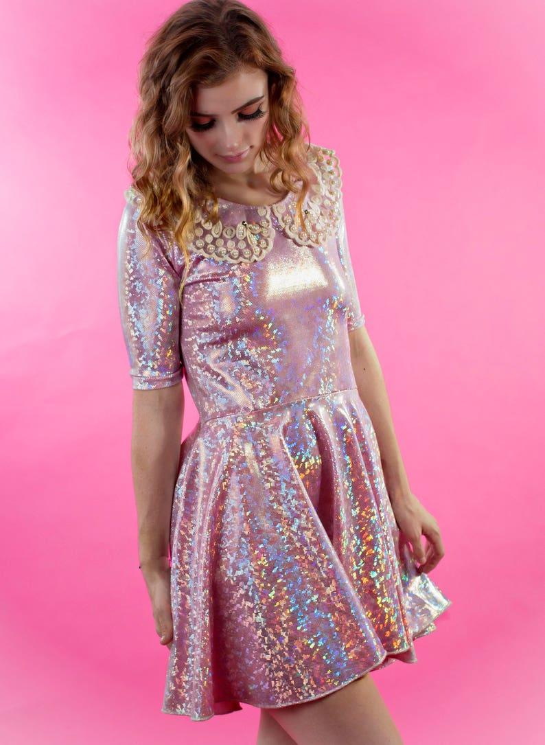 42aac3b5e1 Holographic Dress Pink Dress Shiny Dress Party Dress Dress