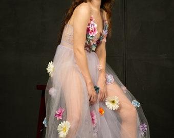 Tulle Dress/Floral Dress/Party Dress/Applique Flower Dress/Dress/Sheer Dress/Lavender Dress/Prom Dress/Maxi Dress/Long Dress/Flower Dress