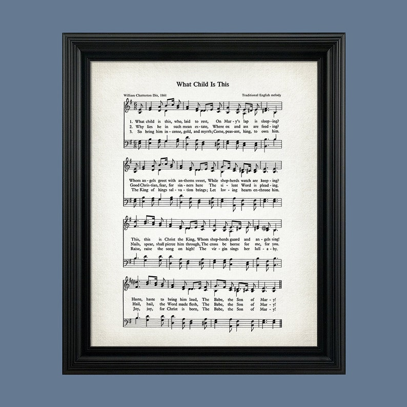 photo regarding Christmas Caroling Songs Printable titled What Youngster Is This Xmas Hymn Print - Sheet Tunes Artwork - Hymn Artwork - Hymnal Sheet - Household Decor - Tunes Sheet - Print - #HYMN-P-030