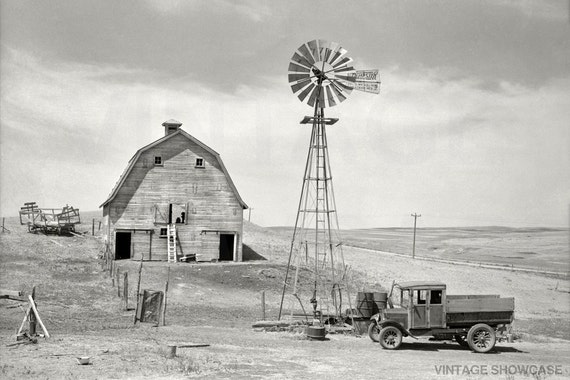 Old Vintage Photo Old Barn And Truck Beach North Dakota
