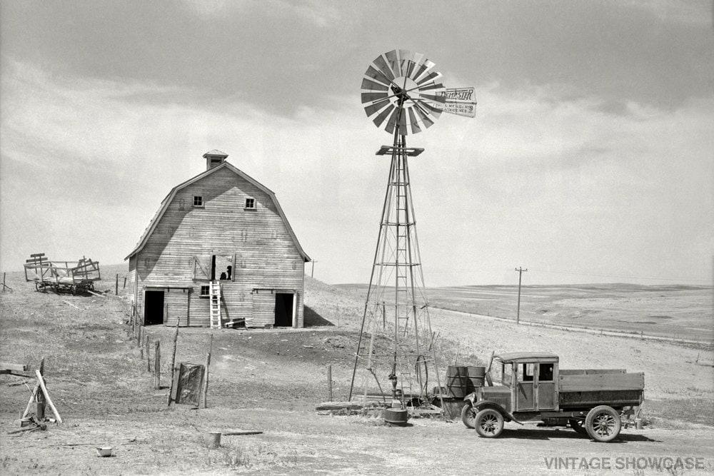 Old Vintage Photo Old Barn And Truck Beach North Dakota Etsy