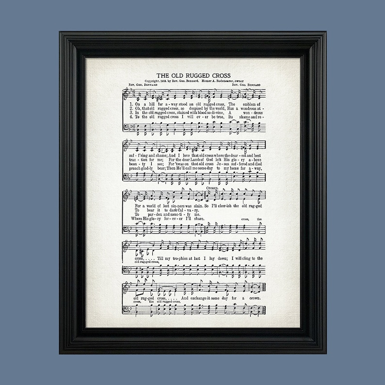 photograph about Old Rugged Cross Printable Sheet Music known as The Previous Rugged Cross Hymn Print - Sheet Tunes Artwork - Hymn Artwork - Hymnal Sheet - Wall Artwork -Property Decor - Audio Sheet - Print - #HYMN-P-013