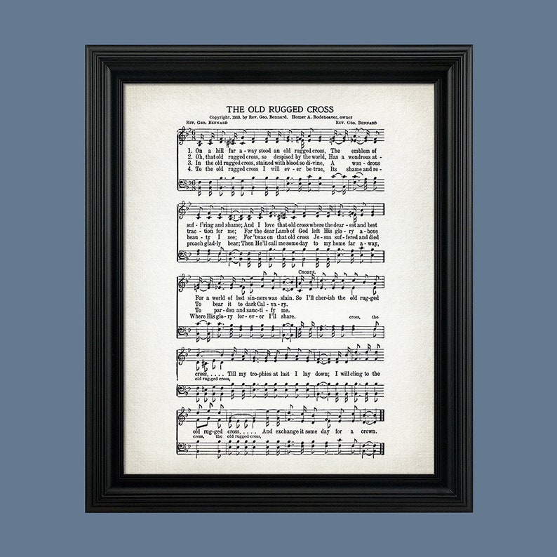graphic relating to Old Rugged Cross Printable Sheet Music referred to as The Outdated Rugged Cross Hymn Print - Sheet Audio Artwork - Hymn Artwork - Hymnal Sheet - Wall Artwork -Household Decor - New music Sheet - Print - #HYMN-P-013